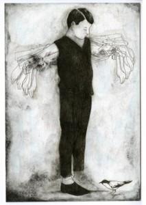 Pierrick-Naud-les-ailes-endormies.2013.encre-fusain-et-vernis-sur-papier.22x15cm-©-La-Galerie-Particulière-Galerie-Foucher-Biousse