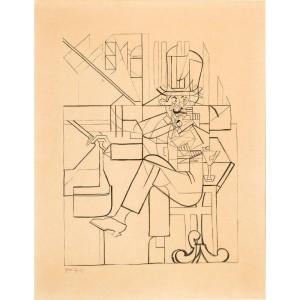 juan gris l'homme au cafe etude 1912